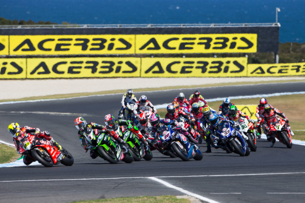 motorcyces racing in track
