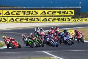 motorcyces racing in track